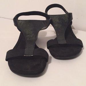 Alfani Black pebbled leather sandal, small wedge
